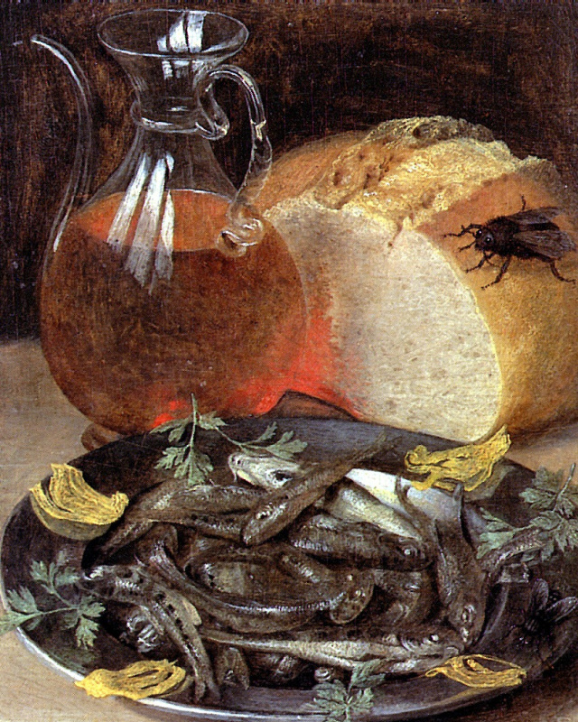 Georg Flegel. Still life with fish and bottle of wine