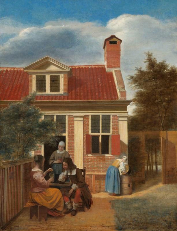 Питер де Хох. Компания во внутреннем дворе