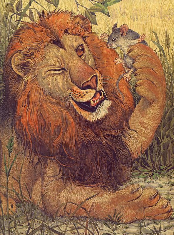 Басни Эзопа. Лев и мышь