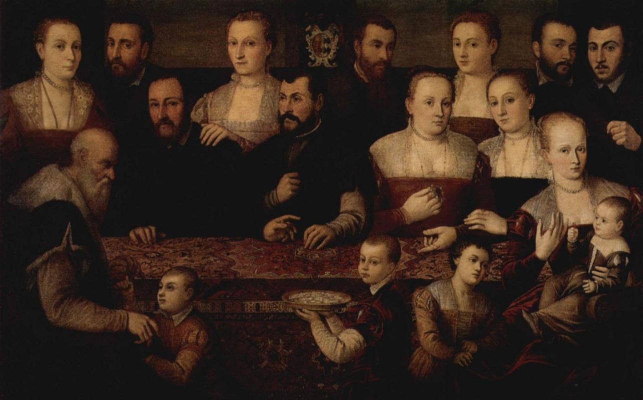 Чезаре Вечеллио. Семейный портрет с восточным ковром