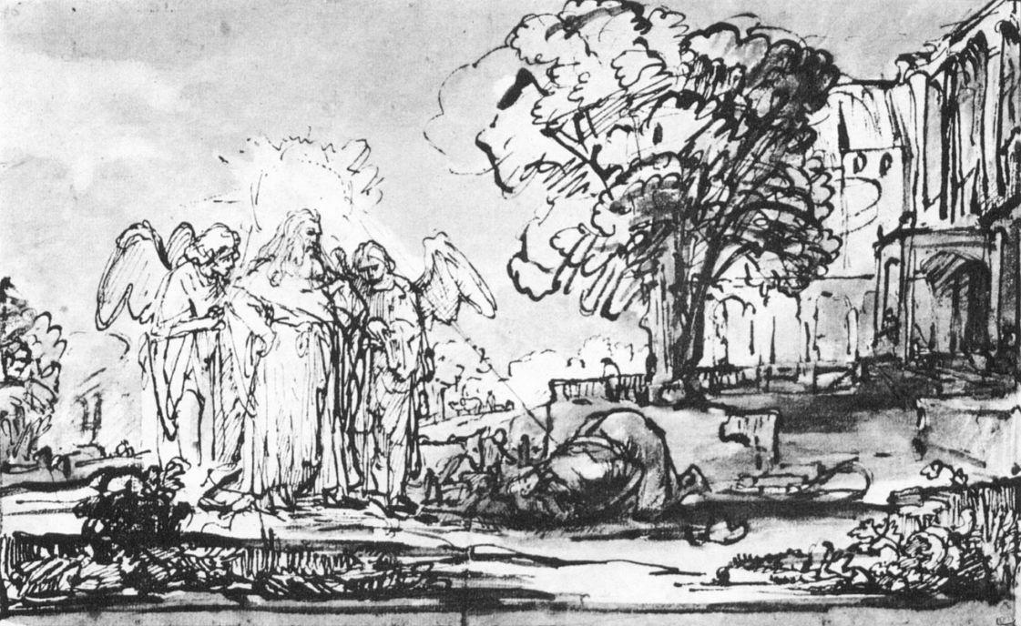 Рембрандт Ван Рейн. Посещение тремя ангелами Авраама