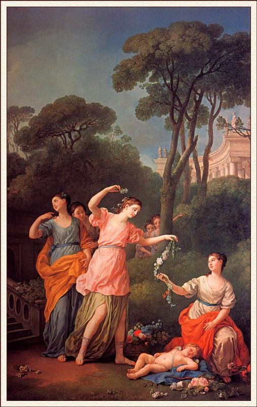 Жозеф-Мари Вьен. Молодые греческие девушки воздавая гирлянды