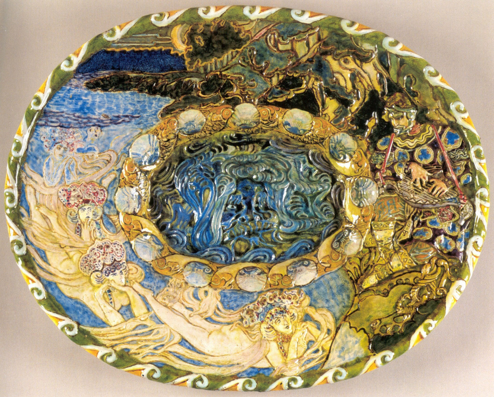 Mikhail Vrubel. Dish Sadko. Abramtsevo ceramic workshop. Majolica, painted with colored glazes.