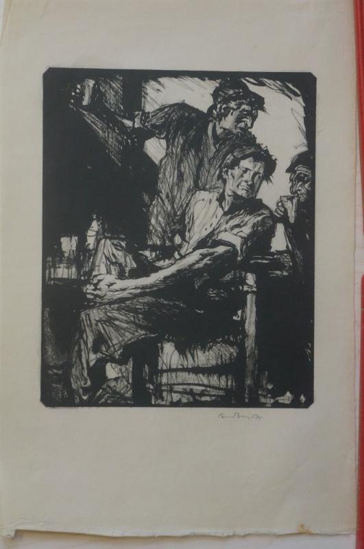 Frank William Brangwyn. Drinkers. author's signature.