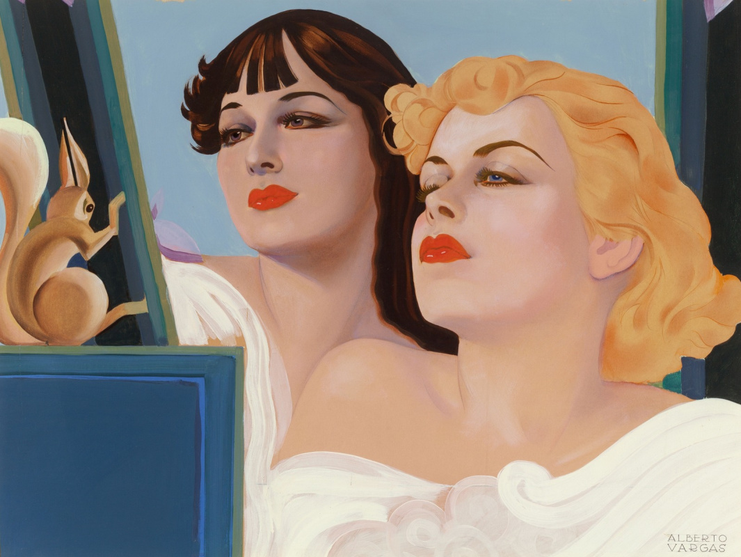 Альберто Варгас. Две девушки с белкой.