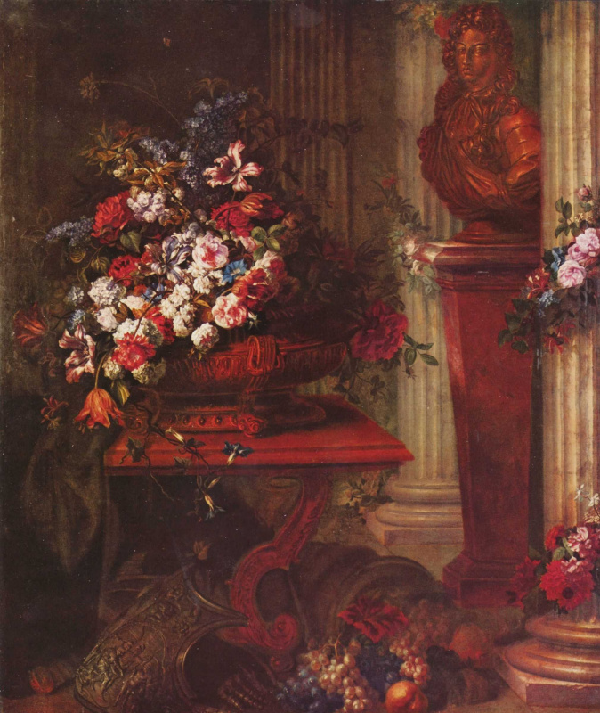 Жан-Батист Белин Старший. Ваза с цветами и бронзовый бюст Людовика XIV