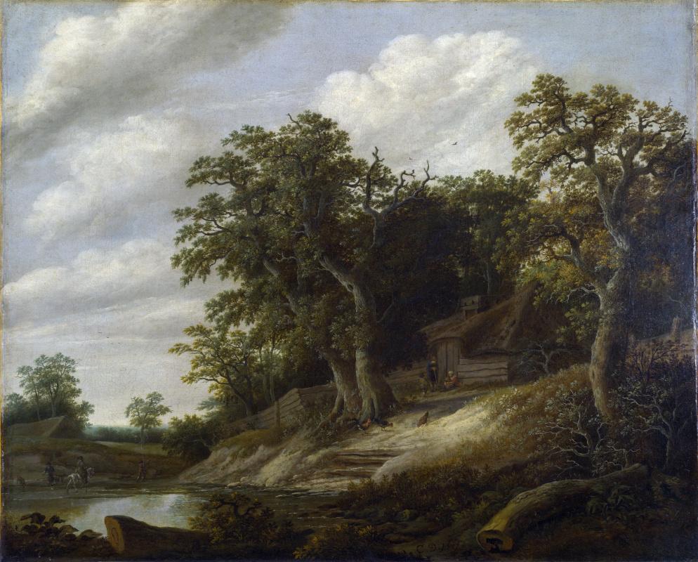 Деккер Корнелис. Коттедж среди деревьев на берегу ручья