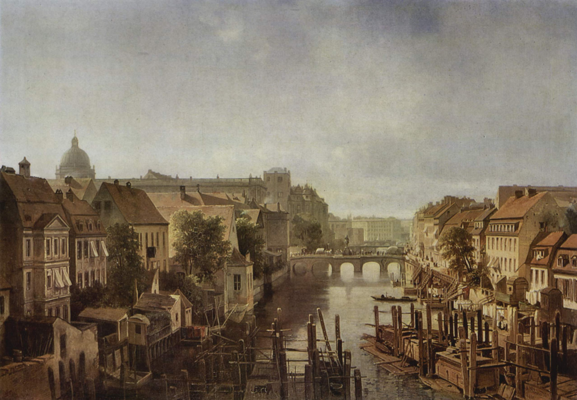 Albert Schwendy. The views from the Royal mills on Mulendema on the Long bridge in Berlin