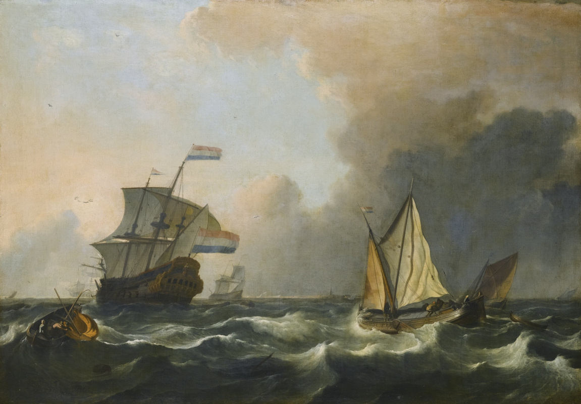 Ludolf Buckhuisen. Shipping in rough waters off the Dutch coast