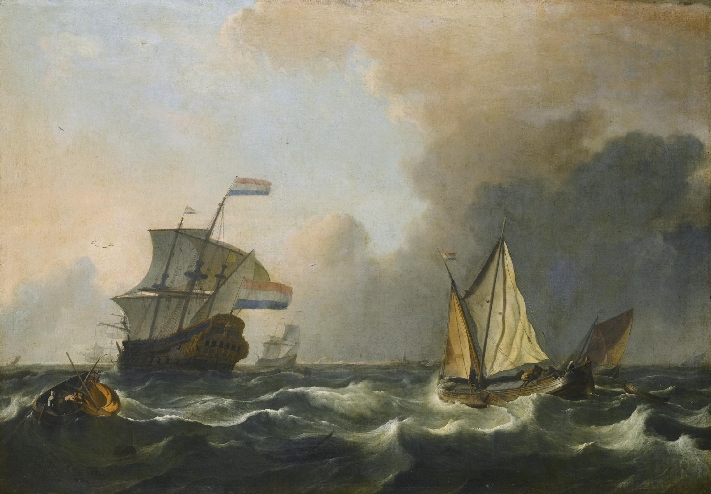 Людольф Бакхёйзен. Судоходство в бурных водах у голландского побережья