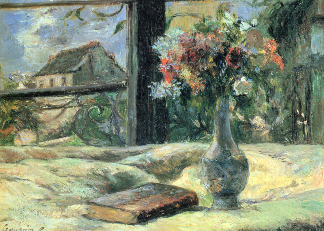 Paul Gauguin. Vase with flowers on the window