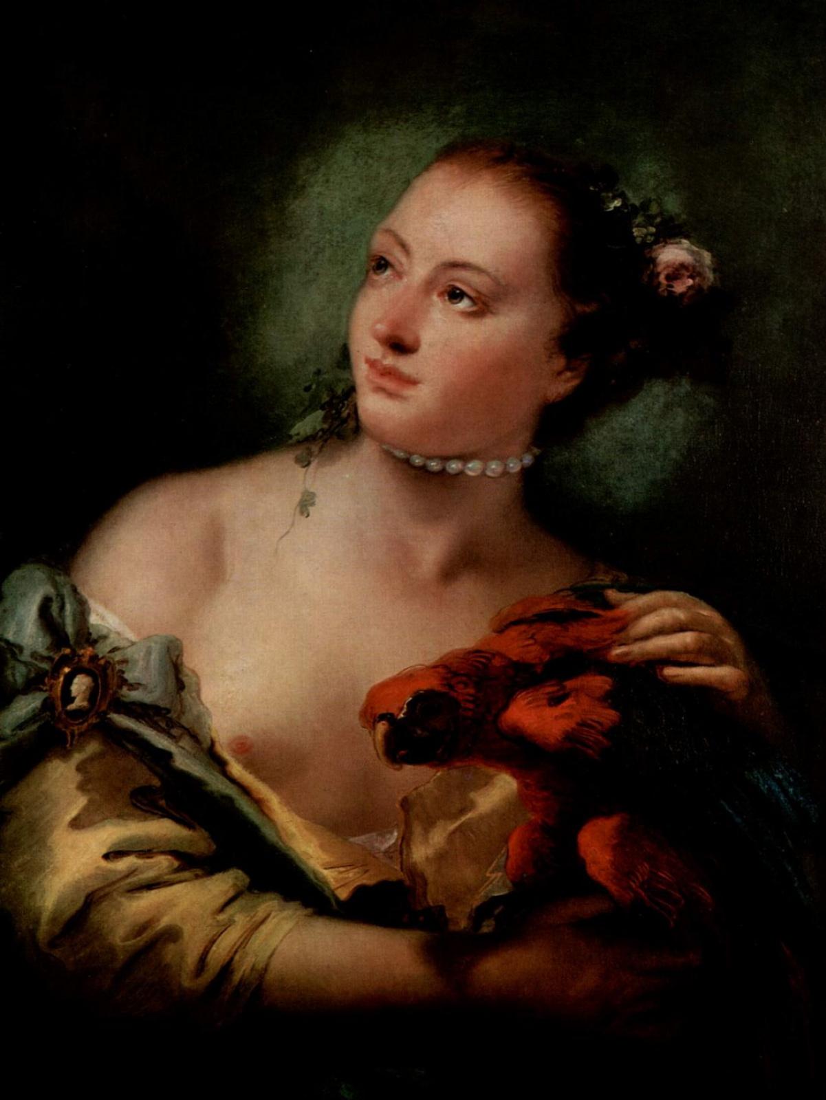 Джованни Баттиста Тьеполо. Молодая женщина с попугаем
