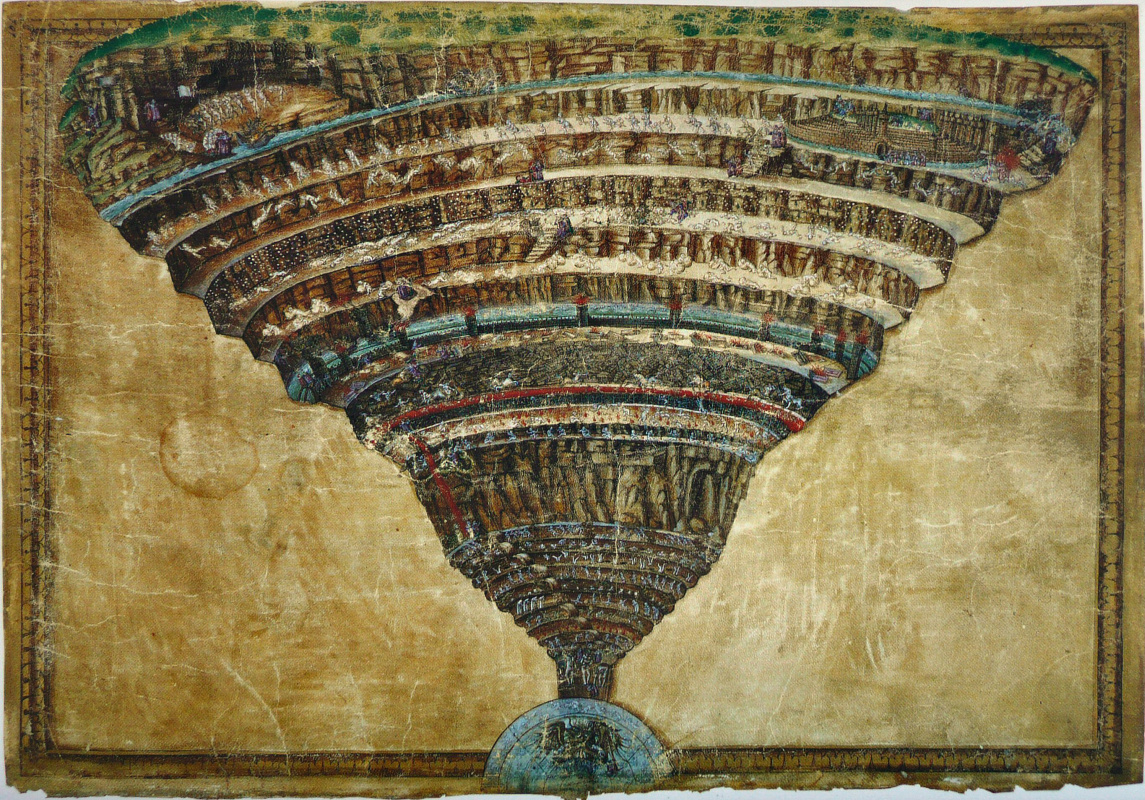 "Sandro Botticelli. Map of Hell. Illustration for the ""Divine Comedy"" by Dante Alighieri"