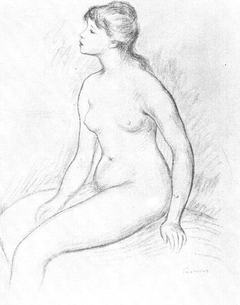 Pierre-Auguste Renoir. Nude. Sketch