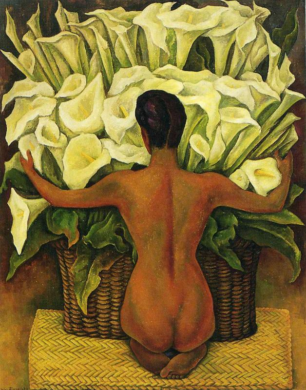 Диего Мария Ривера. Девушка у корзины с цветами