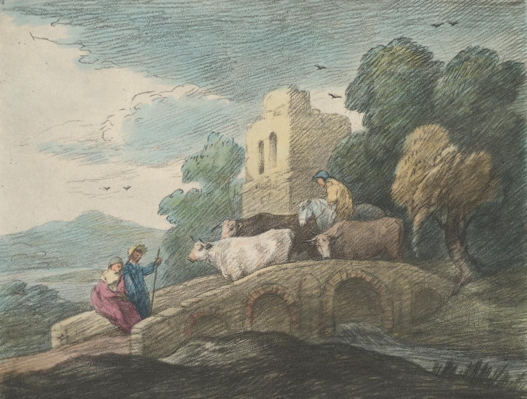 Томас Гейнсборо. Пейзаж с пастухом, стадом и влюбленной парой на мосту