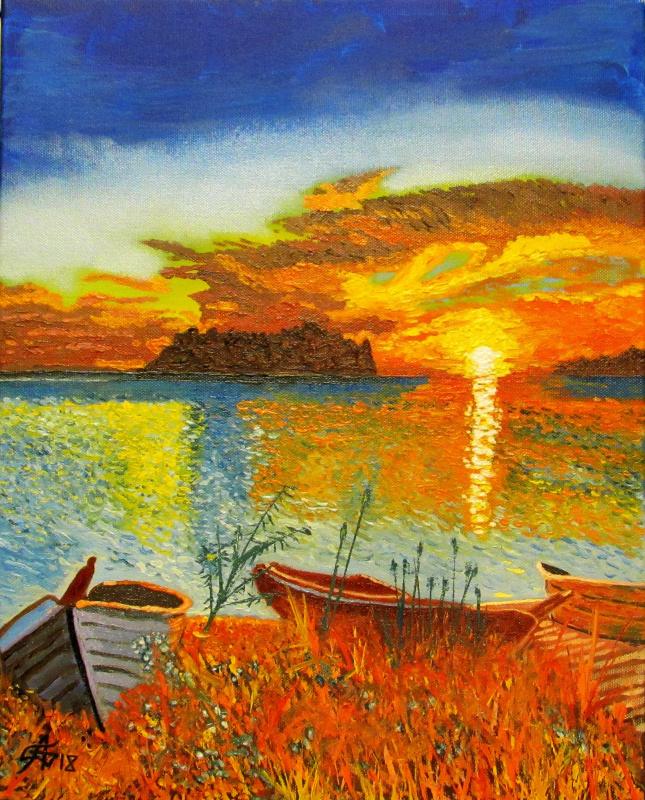 Artashes Badalyan. Boats at sunset - xm - 50x40