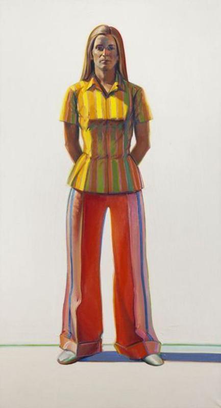 Wayne Thibaut. Woman in striped blouse