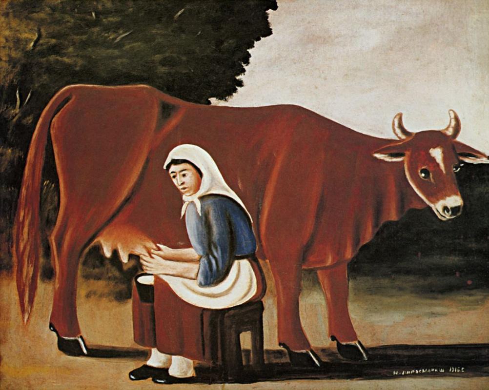 Нико Пиросмани (Пиросманашвили). Женщина доит корову