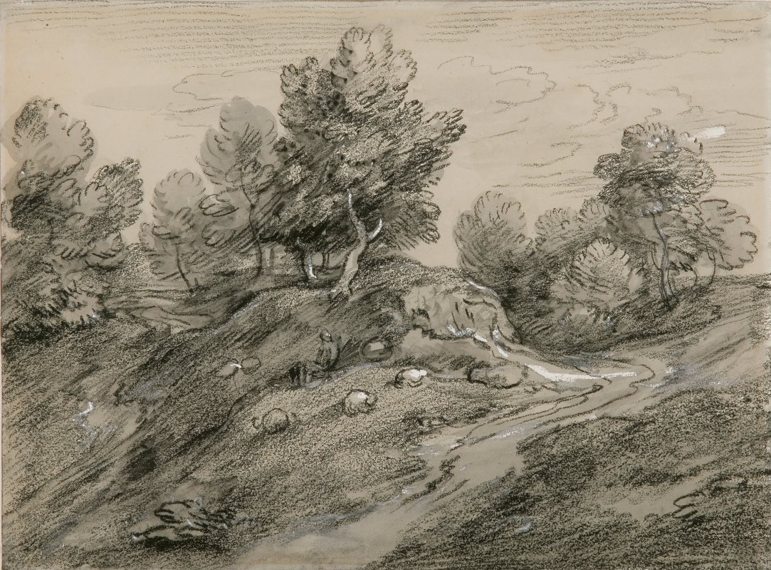 Thomas Gainsborough. Landscape with a road and a shepherd on a hillside