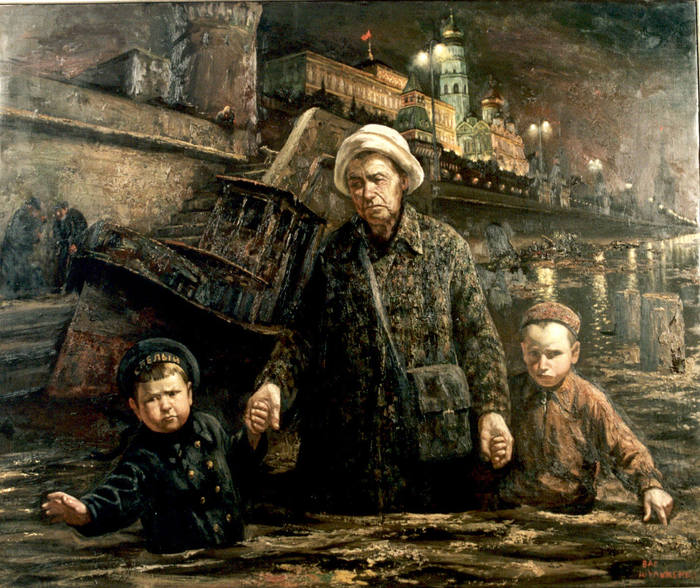 Vasily Vladimirovich Shulzhenko. Walking with my grandmother along the Moscow River