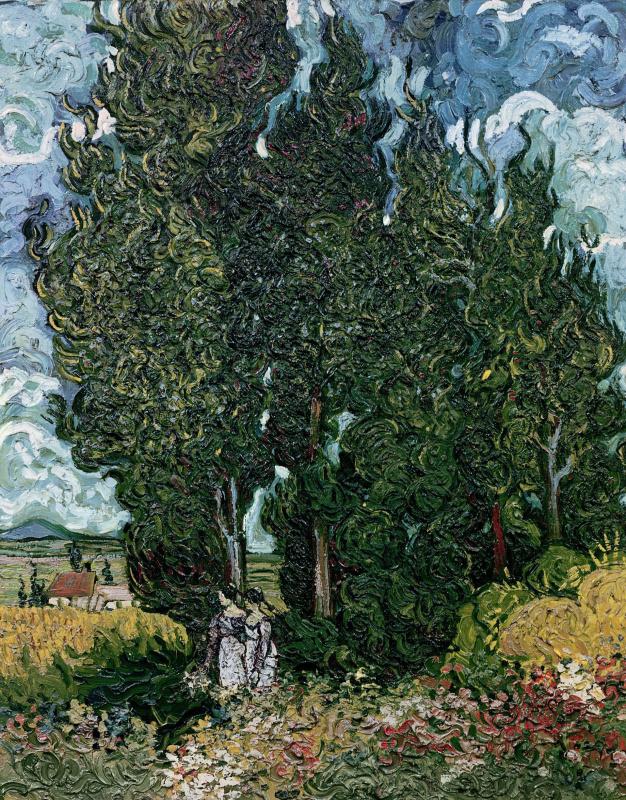 Винсент Ван Гог. Кипарисы и две женщины
