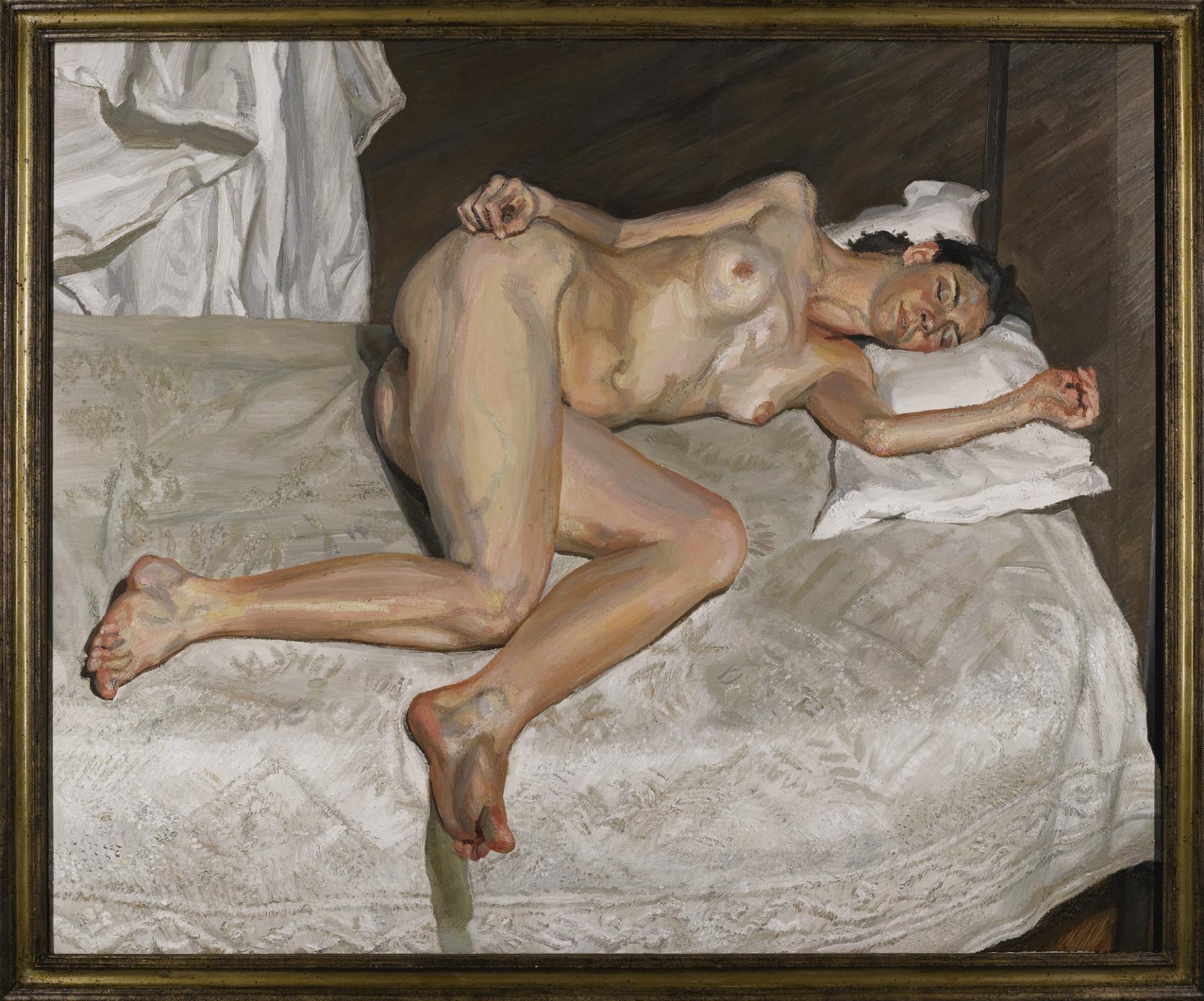 Люсьен Фрейд. Портрет на белом покрывале