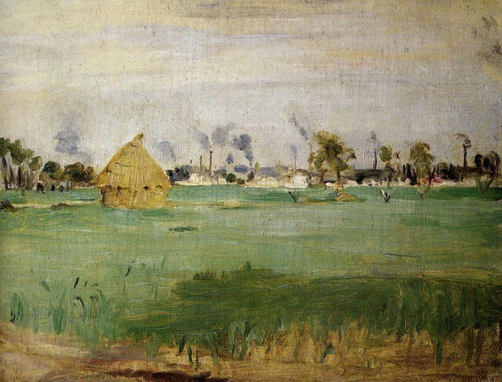 Берта Моризо. Пейзаж в Женвильер