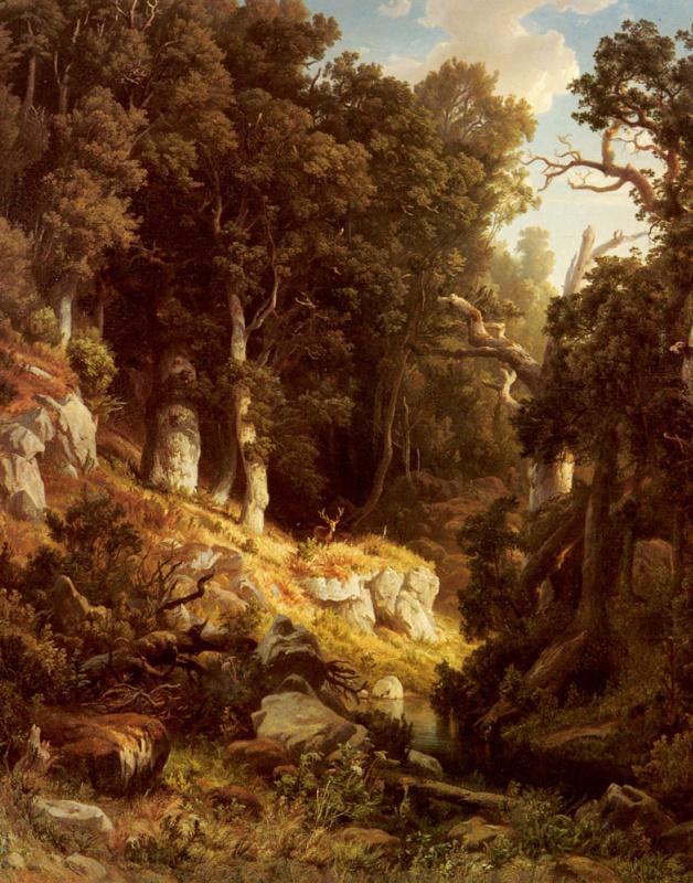 Август Кесслер. Олень в лесу