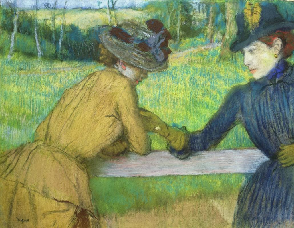 Edgar Degas. Two women conversing, resting on the beam