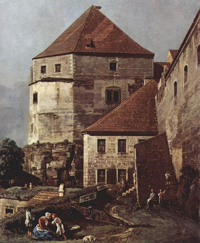 Джованни Антонио Каналь (Каналетто). Вид Пирны со стороны крепости Зонненштайн, фрагмент