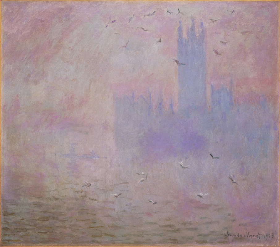 Claude Monet. The houses of Parliament. Fog and seagulls
