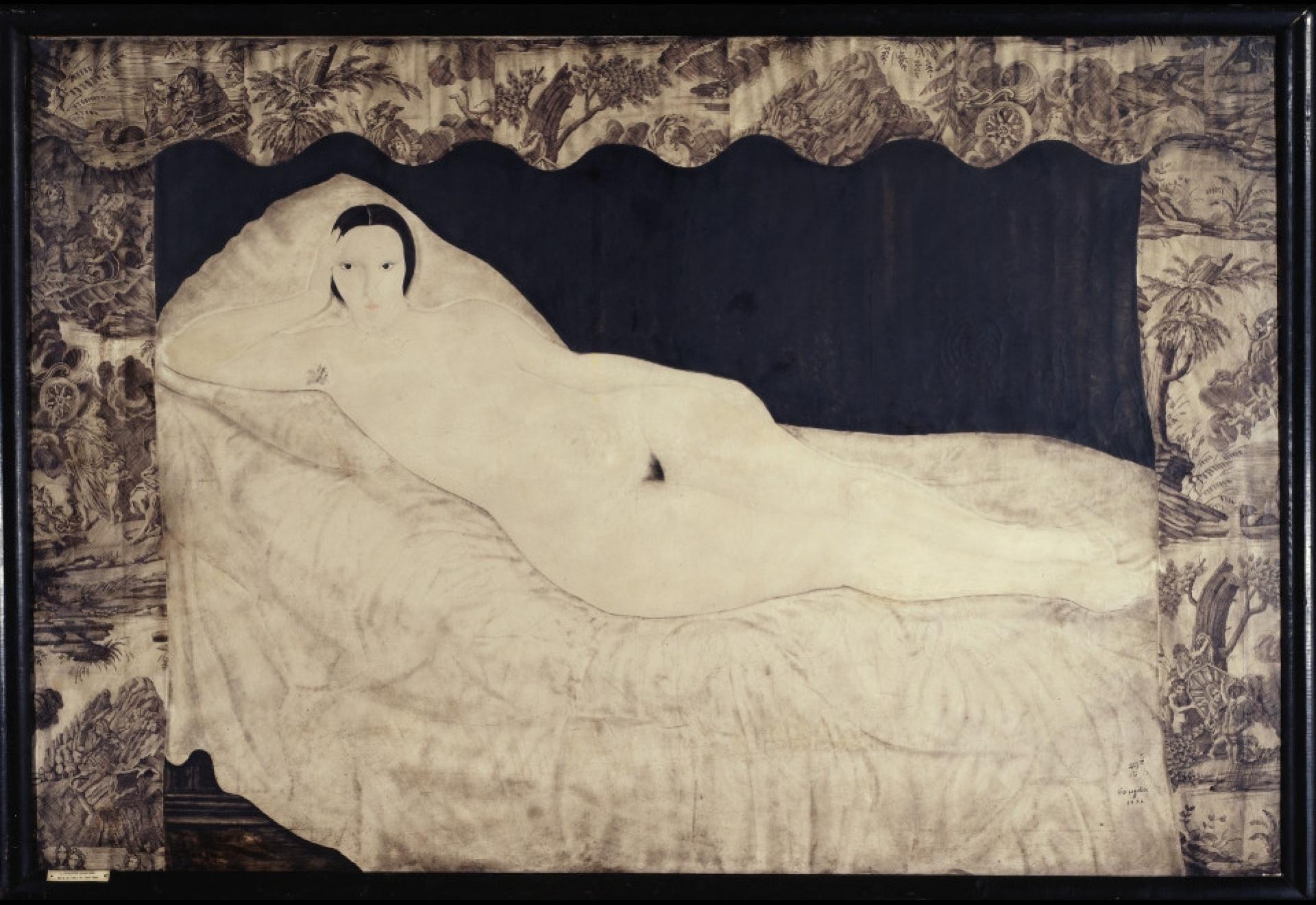Tsuguharu Foujita (Léonard Fujita). Reclining Nude (the Nude Portrait of Kiki)