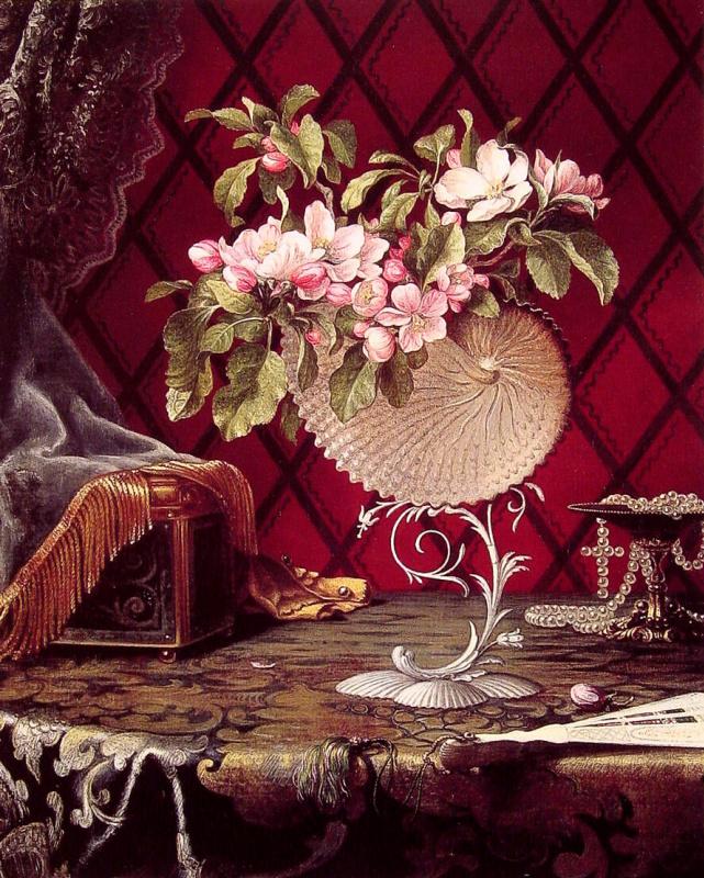 Мартин Джонсон Хед. Натюрморт с веткой цветущей яблони в раковине наутилуса