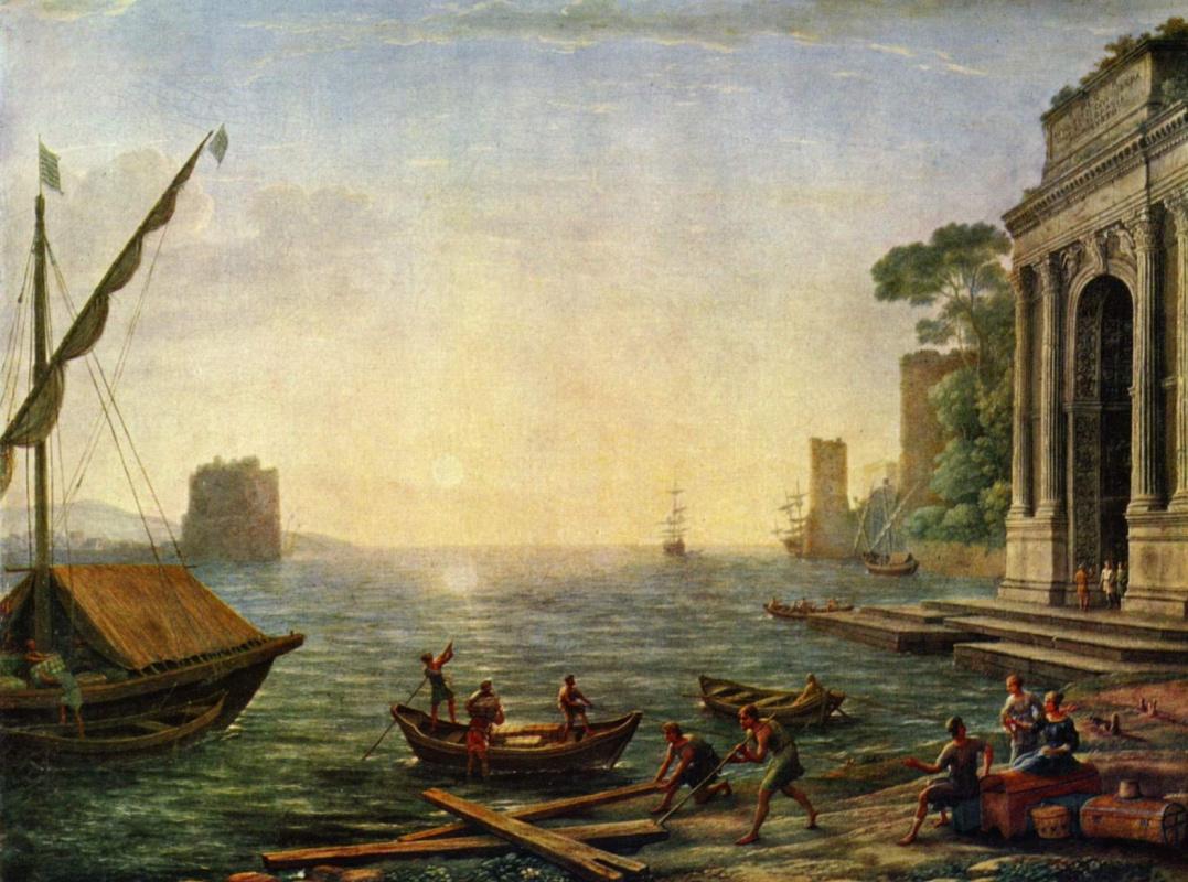 Клод Лоррен. Морская гавань при восходе солнца