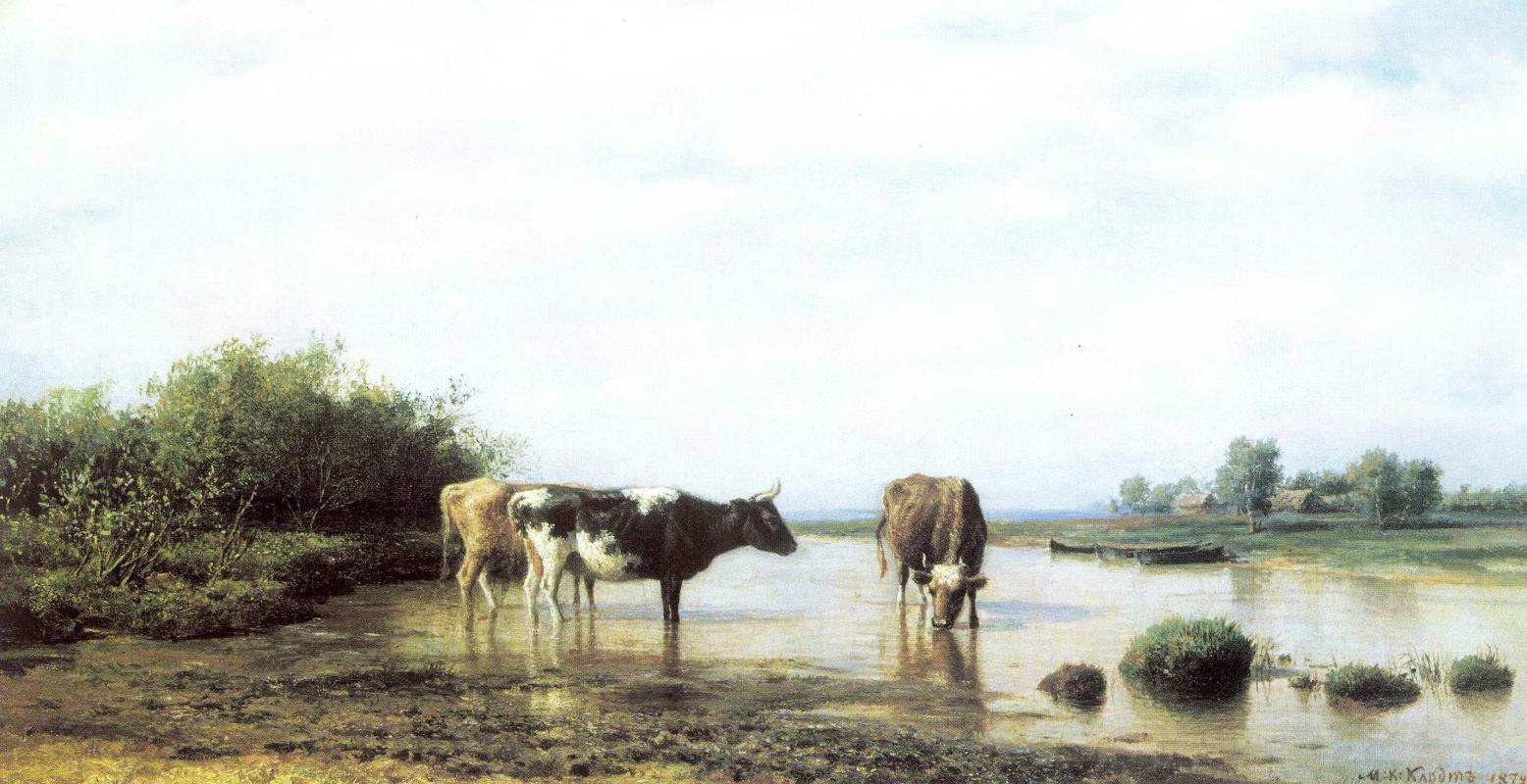 Михаил Константинович Клодт. Коровы на водопое