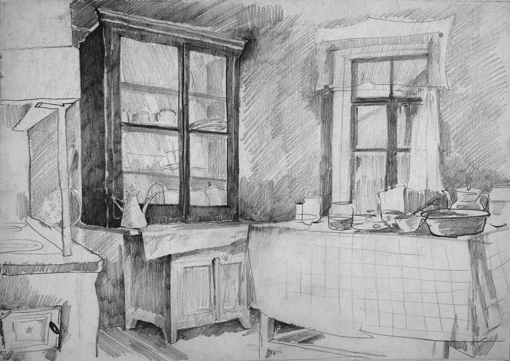 Alexander Shevelyov. A rustic interior. Boom.Graph.CT.21.5 x 30 cm 1989