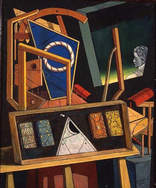 Джорджо де Кирико. Метафизический интерьер со статуей в профиль