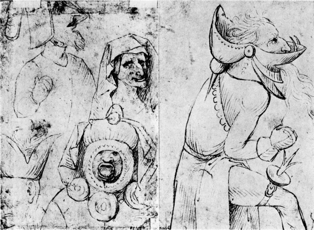 Hieronymus Bosch. Grotesque faces (two side)