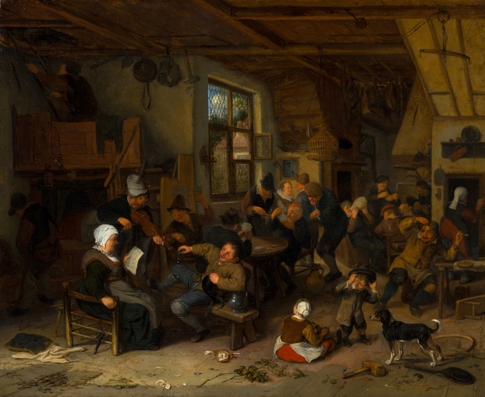 Adrian Jans van Ostade. Peasants in the tavern (in collaboration with Cornelis by Dusetos)