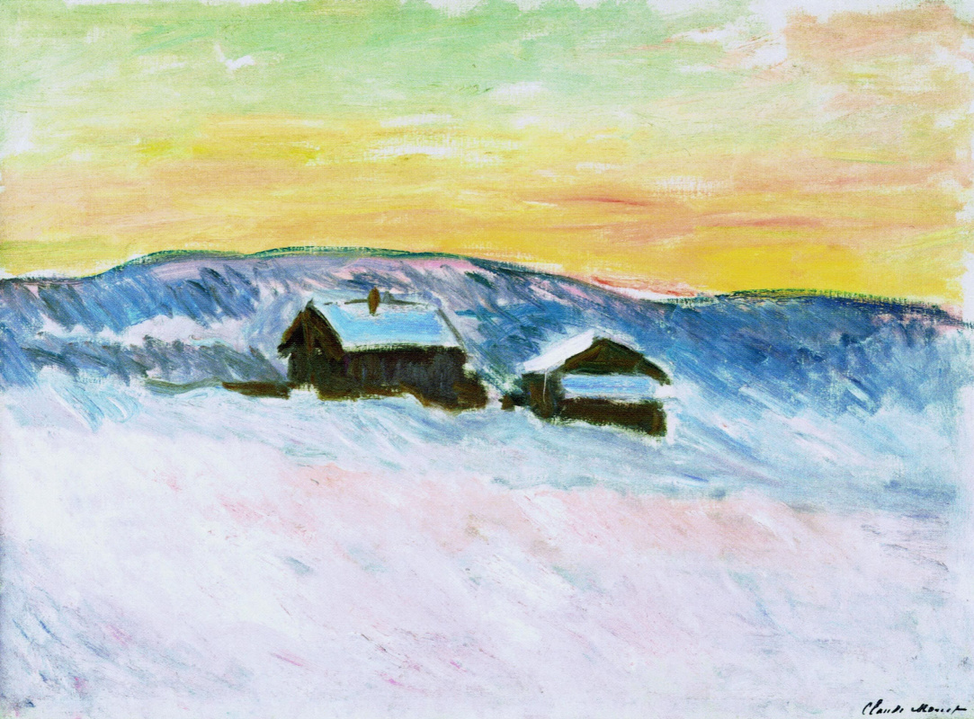 Claude Monet. The landscape in Norway, the blue houses
