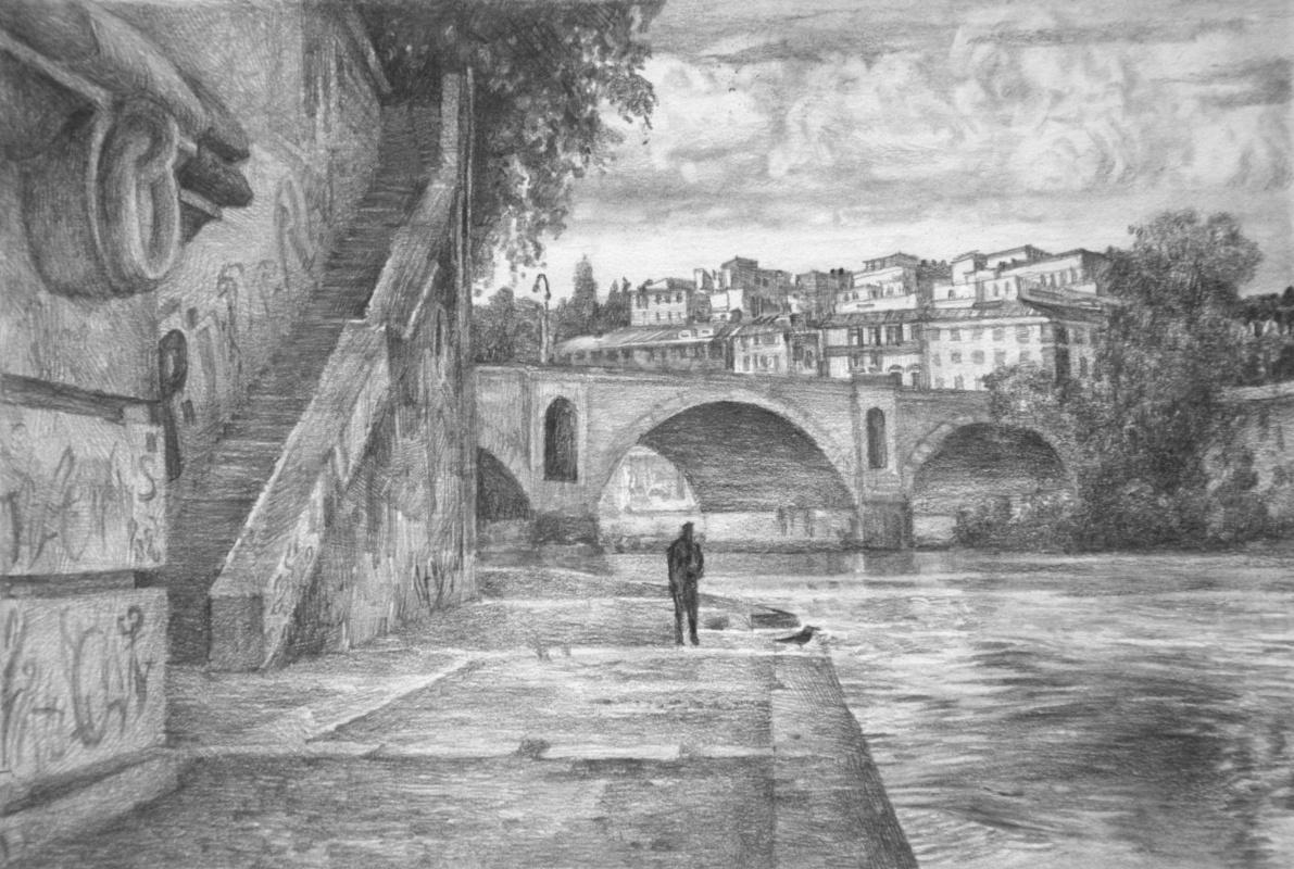 Oleg Borisovich Zakharov. Rome. Autumn. Bridge of Prince Amadeo of Savoy.