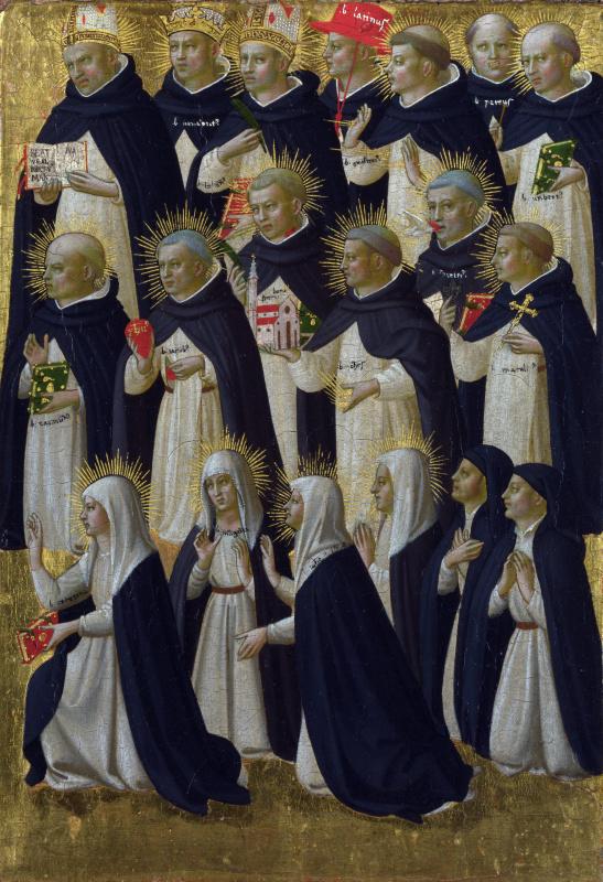 Фра Беато Анджелико. Христос во Славе: с понтификами и доминиканскими блаженными. Пределла алтаря Святого Доминика во Фьезоле