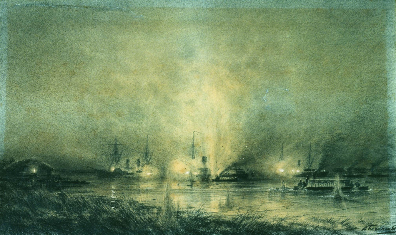 """Alexey Petrovich Bogolyubov. The explosion of the Turkish monitor """"Seyfi"""" on the Danube May 14, 1877"""