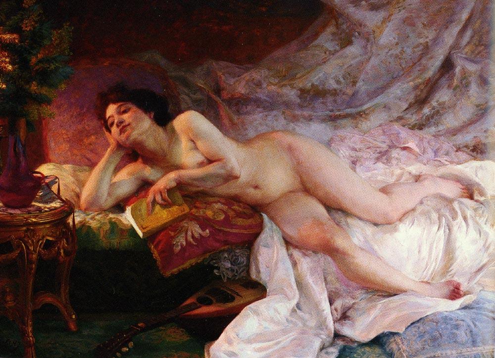 Ernst Eduard Martens. Nude with book