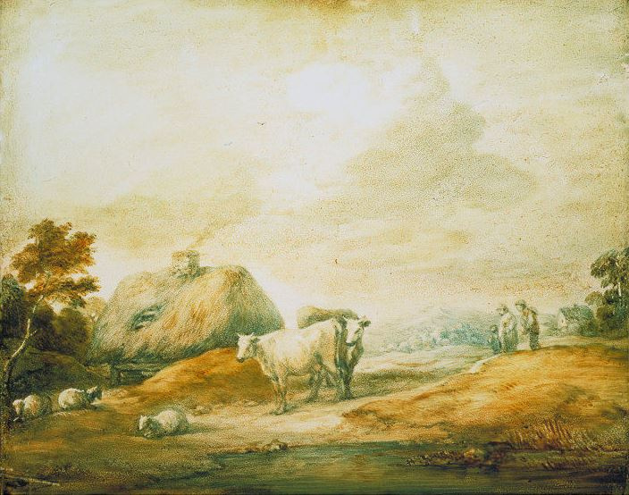 Thomas Gainsborough. Landscape with house, cows and sheep at a pond