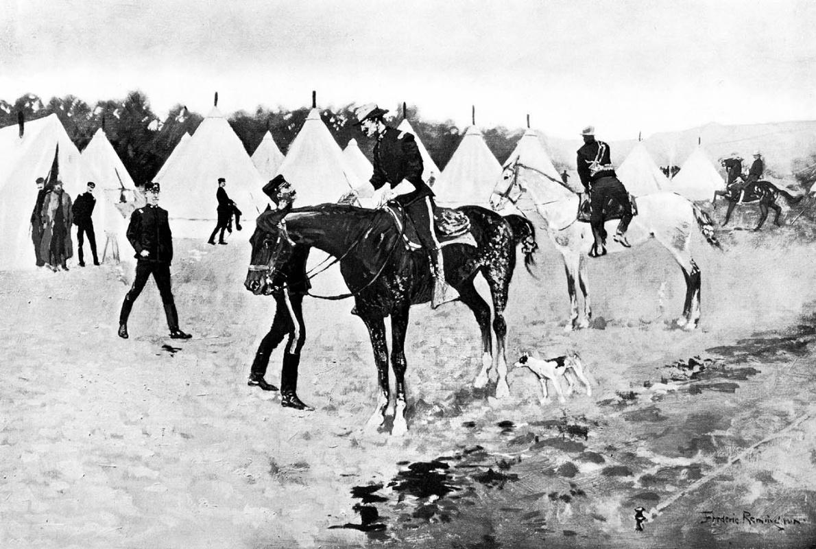 Frederick Remington. Cavalry camp