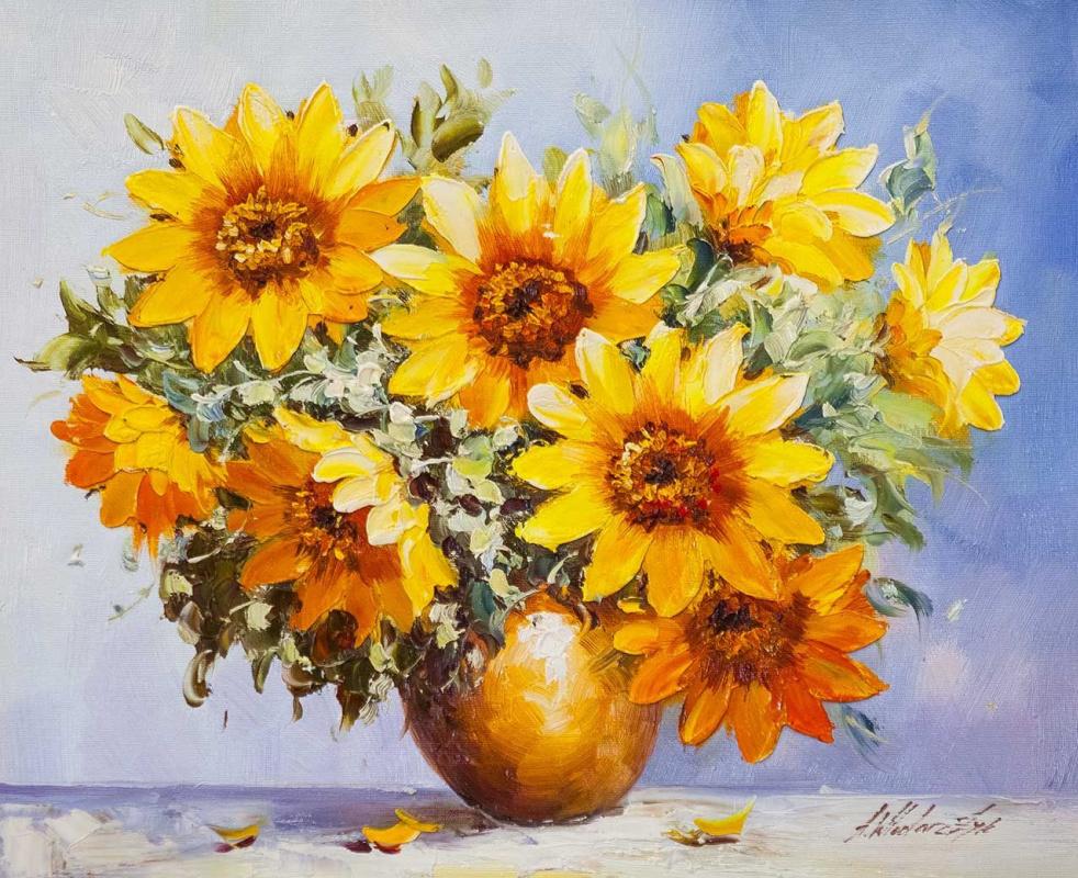 "Andrzej Vlodarczyk. Still life with oil ""Garden sunflowers N3"""