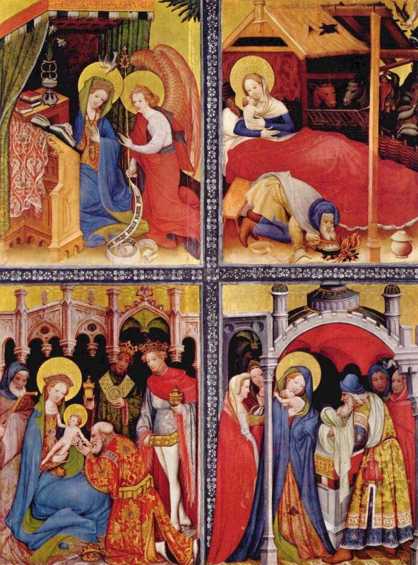 Конрад фон Зост. Алтарь Страстей Христовых. Вильдунгенский алтарь, левая створка: Благовещение, Рождество, Поклонение волхвов