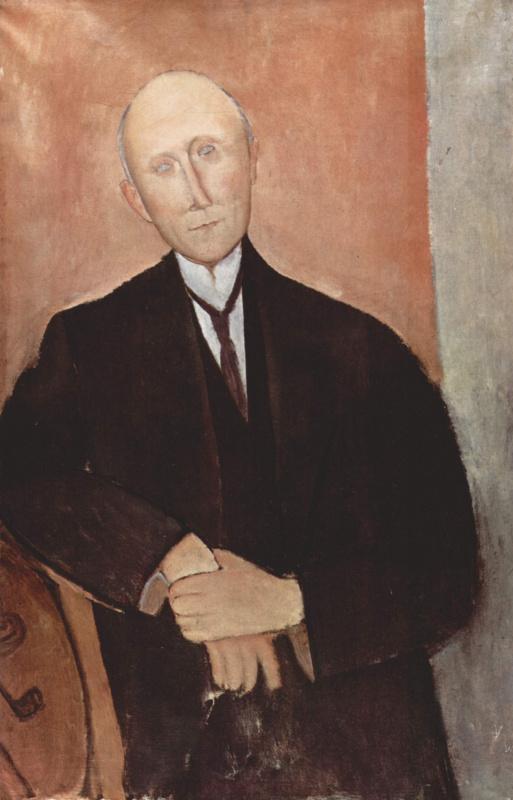 Амедео Модильяни. Сидящий мужчина на оранжевом фоне